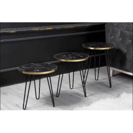 Som Tasarım - Siyah Mat Mermer Desenli Altın Şeritli Sehpa